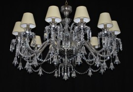 The custom-made 12 arms crystal chandelier - The vacuum-coated crystal glass with metal