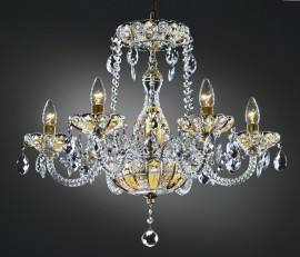 6-Arms Crystal chandelier high enamel on a golden background
