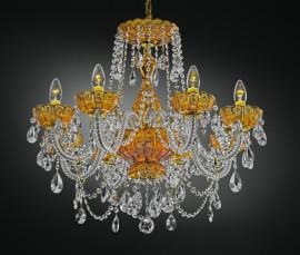 Luxury yellow crystal chandelier 8 bulbs