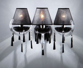 3-arm silver crystal wall light made of black glass with lampshades