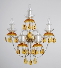 large 5-arm light on the wall with topaz almonds