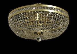 Large basket crystal chandelier with square stones