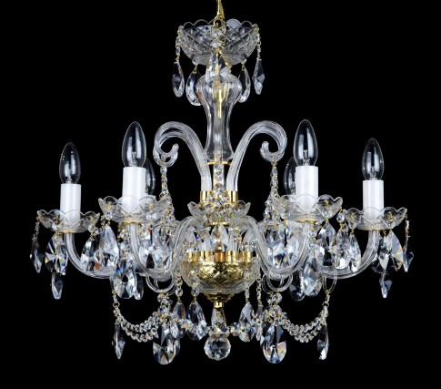 6 Arms design crystal chandelier with cut crystal almonds and glass horns