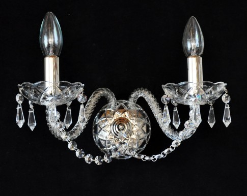 2 Arms Silver glass wall light with cut crystal drops and chains