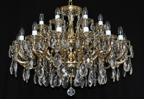 18 Arms Massive Cast brass chandelier with crystal almonds
