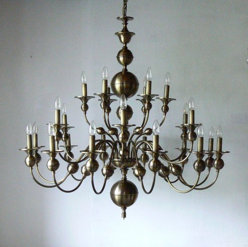 24 Arms stainedbronze Dutch chandelier - manually pressed brass parts ANTIK
