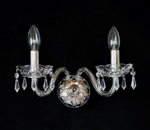 2 Arms Silver glass wall light with cut crystal drops