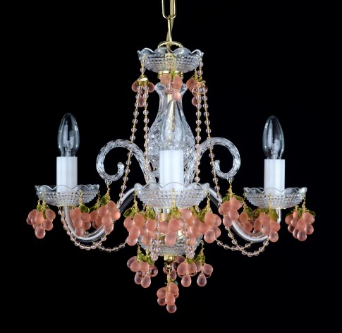3 arms design pink crystal chandelier with pink grapes
