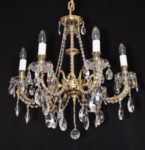 6 Arms Crystal cast brass chandelier - Gold brass & Hand blown bobeches