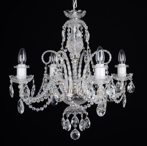 4 Arms small crystal chandelier with cut crystal almonds