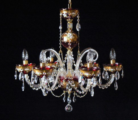 Bohemian medium-sized ruby crystal chandelier decorated with high enamel