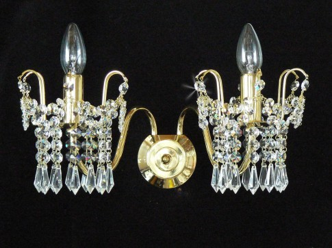 2 Arms tubular Strass crystal wall light with cut crystal drops
