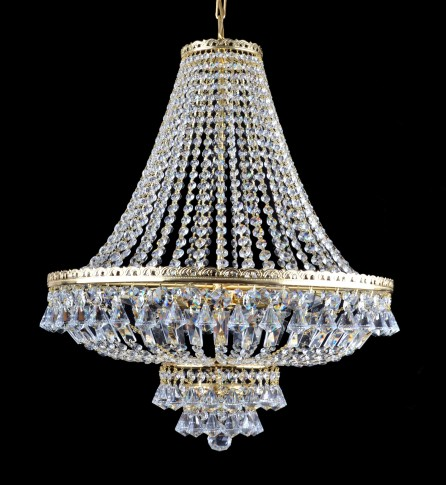 6 bulbs Strass basket crystal chandelier - Cut octagons & Diamond shaped pendants