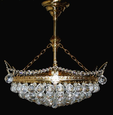 6 bulbs basket crystal chandelier with cut crystal balls II. - Gold brass