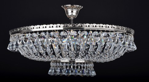6 Bulbs glittering silver basket crystal chandelier with diamond-shaped crystals