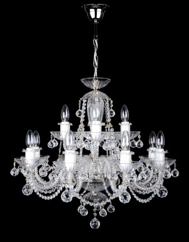 12 Arms silver crystal chandelier with cut crystal balls