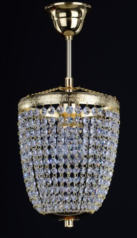 1 Bulb basket crystal chandelier with cut Strass crystal chains