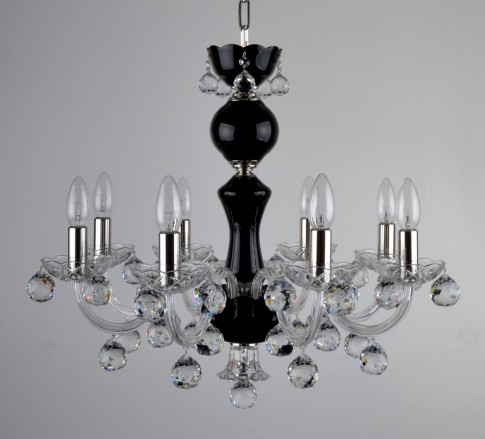 8 Arms Black Crystal chandelier with cut crystal balls - Silver