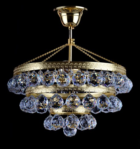 Gold crystal basket light for a lower ceiling