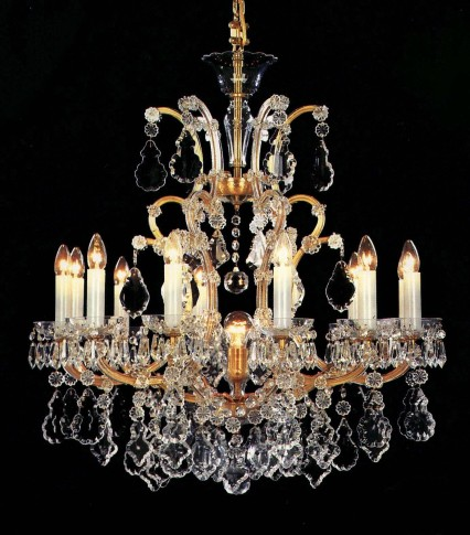 12 flames Gold Maria Theresa crystal chandelier with crystal pendeloques