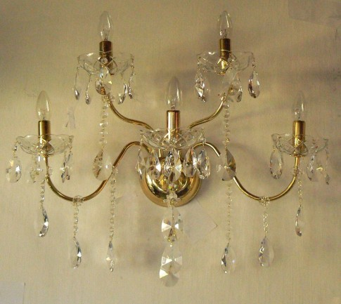 5 Arms tubular brass crystal wall light with cut crystal almonds