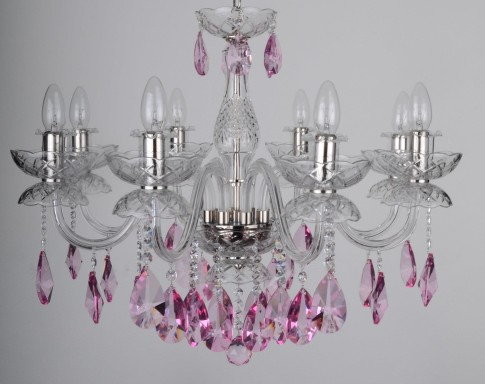 8 Arms Crystal chandelier with smooth glass arms & Cut violet fuchsia almonds