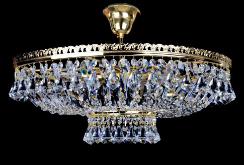 6 Bulbs brilliant basket crystal chandelier with diamond-shaped crystals