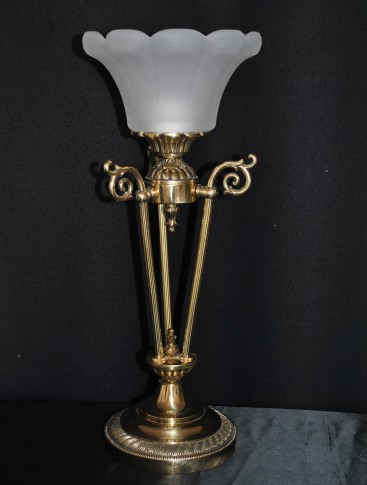 1 Bulb Cast brass crystal table lamp with sand blasted glass lampshade