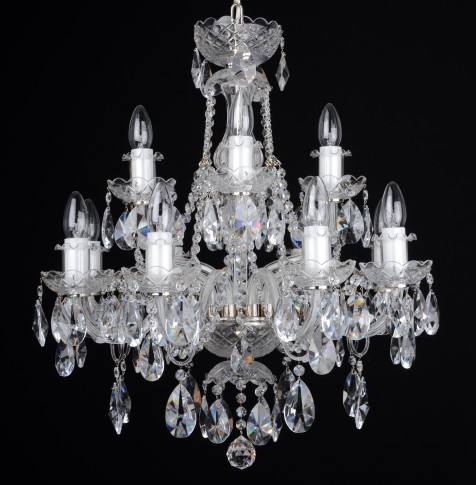 12 Arms Silver crystal chandelier with cut crystal almonds