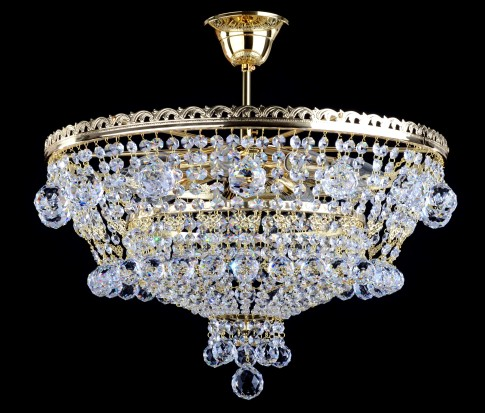 9 Bulbs basket crystal chandelier with cut crystal balls - Swarovski trimmings