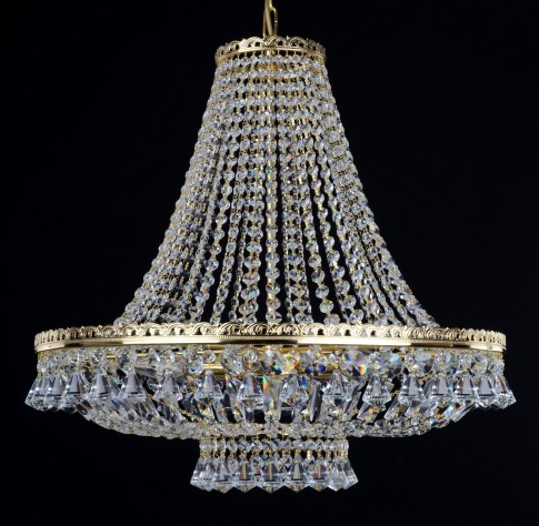6 bulbs basket crystal chandelier with Strass crystal chains & Diamond shaped pendants