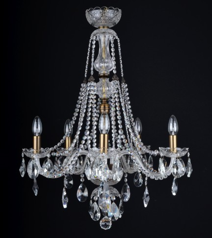 5 Arms crystal chandelier with crystal almonds & brown metal finish ANTIK