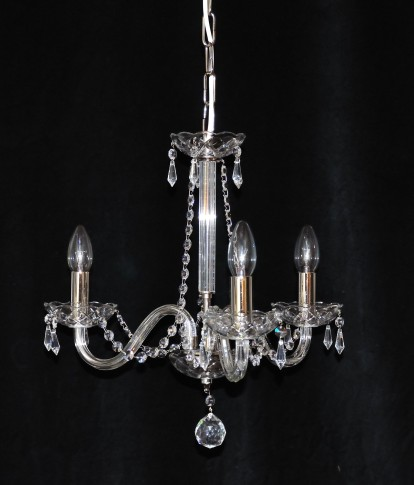 3 Arms plain crystal chandelier with cut crystal drops