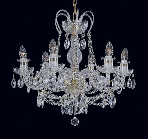 6-arm Crystal chandelier with gold strips