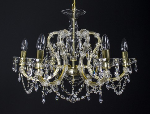 Gold Maria Theresa crystal chandelier with 6 metal arms