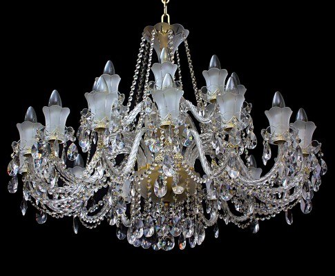 Large 18 Arms Crystal chandelier made of sand blasted glass & cut crystal almonds