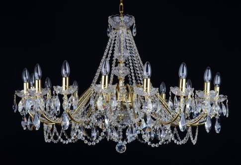 Large  16 Arms gold brass crystal chandelier with cut crystal almonds