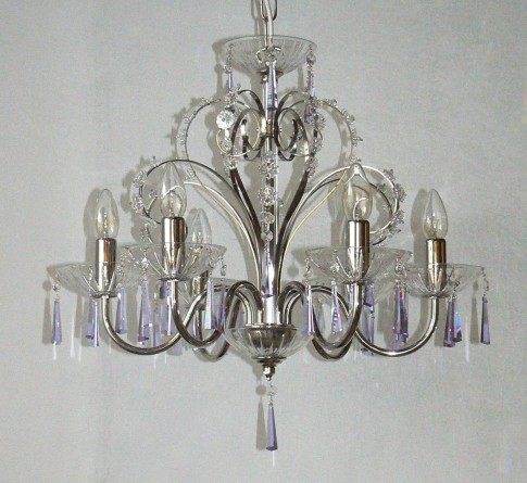 6 Arms plain crystal chandelier with cut crystal hoves