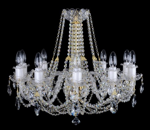 10 Arms glittering Crystal chandelier with smooth glass arms & Cut almonds