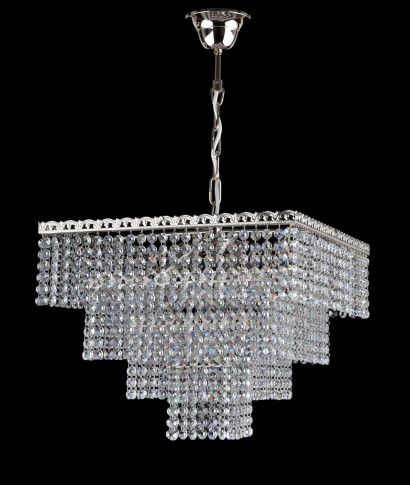 4 bulbs silver square Strass crystal chandelier - Cut octagons
