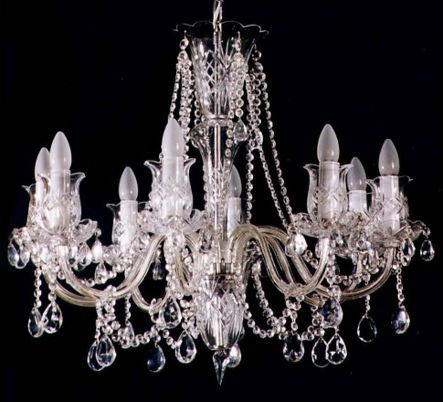 8 Arms Silver Crystal chandelier with hand cut glass tulips & smooth arms