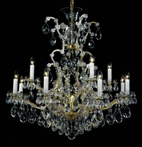 12 flames Maria Theresa crystal chandelier with crystal almonds
