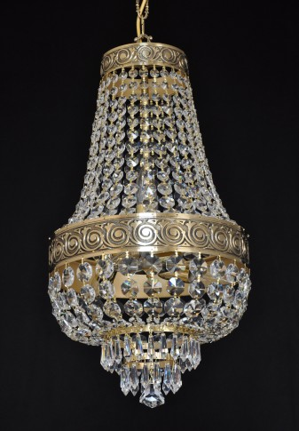 Small Basket crystal chandelier - Cast brass with Antique ornament