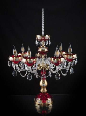 Tall red crystal table lamp with seven arms