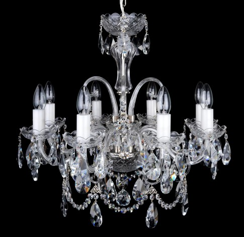 8 Arms Silver crystal chandelier with cut crystal almonds and glass horns