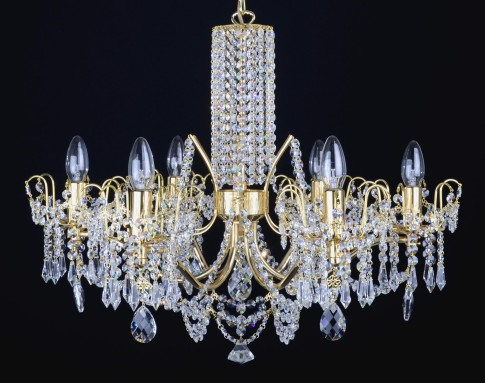 6 Arms brass crystal chandelier with cut crystal almonds & Strass chains