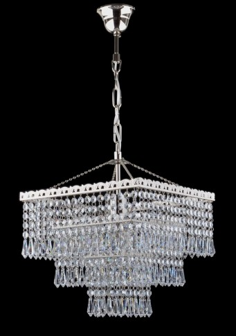 1 bulb silver square Strass crystal chandelier - Cut octagons & Drops