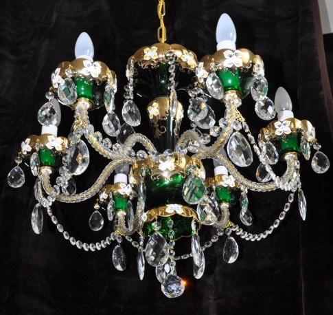 6 Arms Green enamelled crystal chandelier with glass flowers