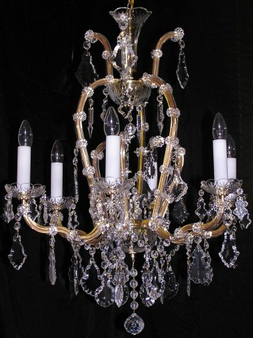 6 flaming Maria Theresa crystal chandelier with crystal Pendeloques