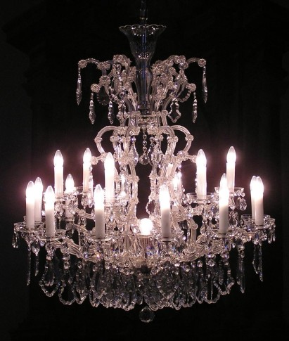 Lit 18 flames Silver  Maria Theresa crystal chandelier with crystal Pendeloques